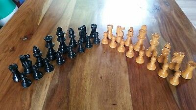 Antique wooden chess set and wooden box