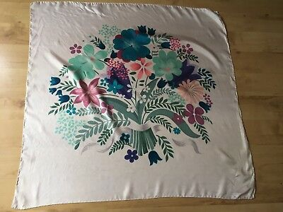Vintage White Floral Silk Scarf -Bunch of Pastel Coloured Flowers