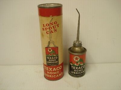 Texaco Vintage Home Lubricant Long Spout Oil Can and Cardboard Sleeve Tube 3 Oz.