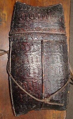 antique golden triangle hill tribe backpack with several weave patterns
