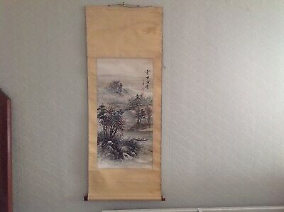 Antique Chinese scroll painting signed, landscape