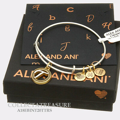Authentic Alex and Ani Two Tone T Expandable Rafaelian Silver Charm Bangle