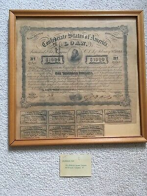 1863 Confederate States of America $1000 Bond and 7 Coupons Stonewall Jackson
