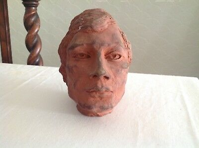 1960s clay sculpture of a mans head