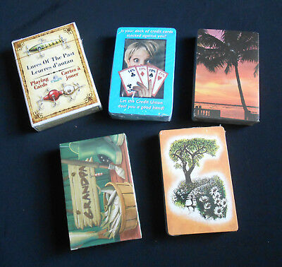 Lot of 5 New Sealed Playing Cards Fishing Advertising Jokers