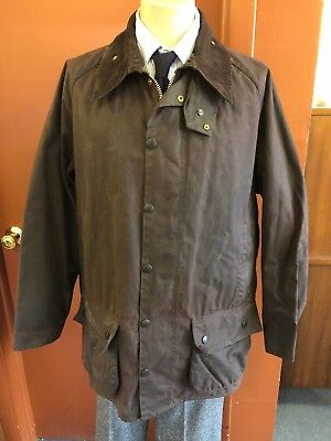 Vintage Men's Barbour BEDALE Jacket Brown Waxed Cotton Tartan Lining - XL 48-50
