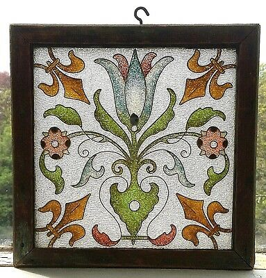 Antique Art nouveau framed stained glass panel