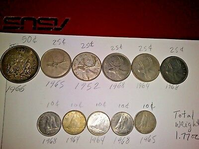 11 Canadian Silver Coins lot 5 Quarters 1 Half Dollar 5 Dimes $3.10 Face 1.77 oz