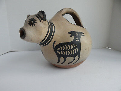 Antique Cochiti Pueblo Indian Pottery Effigy Jar With Goats And Creatures