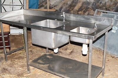 Stainless Steel Double Sink With Fittings. Catering, Smallholder, Smallholding