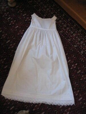 Vintage sleeveless white cotton long Christening gown with lace detailing