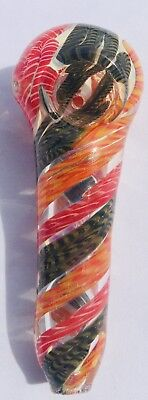 "3.5"" Collectible TOBACCO Twisted Rasta Thick Glass Hand Smoking Pipe w/ Carb"