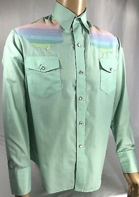 Vintage Western Wear Long Sleeve Button Down Shirt, Turquoise / Multi, L