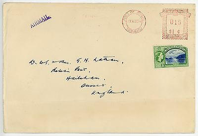 TRINIDAD 1954 RED METER MARK U31, 15c PLUS 1c STAMP, AIRMAIL TO UK, TIDY COVER