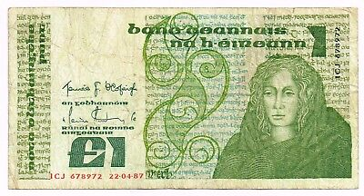 1987 IRELAND ONE POUND NOTE - p70c