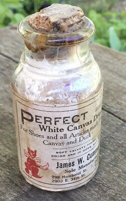 Vtg Cummer Perfect white canvas Dressing glass bottle Cork puss in boots Cat