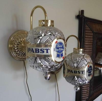 Vintage Pair Pabst Blue Ribbon Beer Rotating Globe Sconce Sign Working RARE