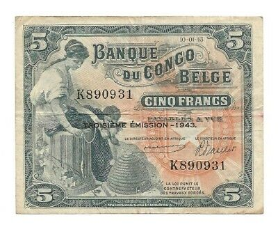 Belgian Congo. 1943, 5 Franc Bank Note, Beehive, Elephant, Hippo. P13a, F-VF.