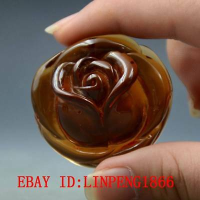 22.8g 100% Natural Baltic Amber Stone Hand-carved Rose Flower Pendant L27