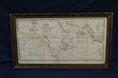 Antique Framed Map-Narrative of the Indian Seas Voyage of Nisus Frigat 1810-1811