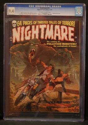Nightmare 1! Cgc 9.4! Ow-W Pages! Htf In High Grade! Skywald Publications!