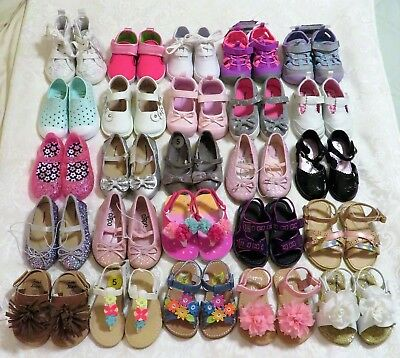 Lot of 25 Toddler Girls Size 5 Shoes Mary Janes Sandals Ballerinas NWT NWOT EUC