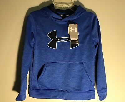 Under Armour Storm1 Blue Black Logo Pull Over Hoodie Youth Boy Size Small, New