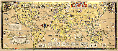 Pictorial 1945 Mercator Map The World United Peace WWII History Wall Art Poster