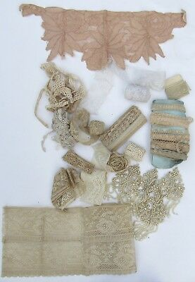 Box of Antique Handmade Lace Pearl Applique
