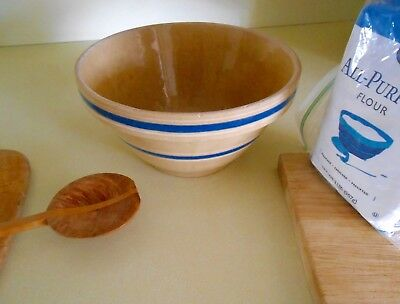 Yellow Ware #8 Blue Striped Mixing Bowl
