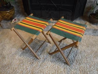 Pair Vintage Canvas Wooden Folding Stools Red Black Yellow Green Stripe  Camping