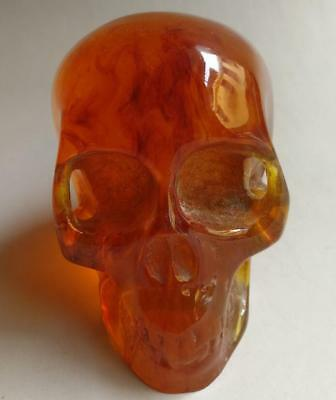 11.5 cm Collectible Decorate Handwork Old Burmese amber carving skull statue