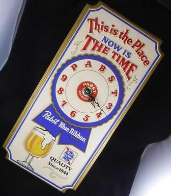 """Vintage Pabst Blue Ribbon """"This is the Place"""" Wall Clock Working Beer Sign 1979"""