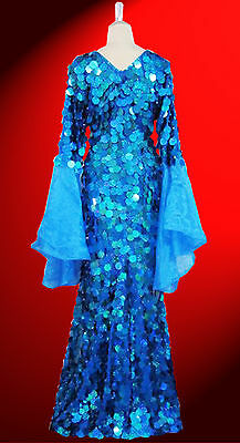 Blue Sequin Dress Gown with Ruffle sleeves Diva Show Girl Drag Queen Cabaret