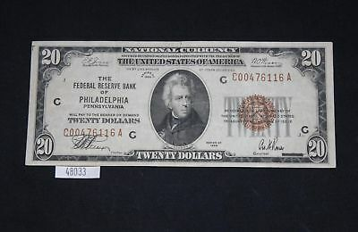 ThriftCHI ~ National Currency $20 Federal Reserve Bank of Philadelphia 1929