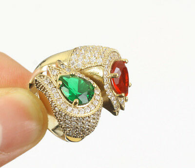 Tulips Emerald Ruby Topaz .925 Silver & Bronze Ring Size 8 #13936