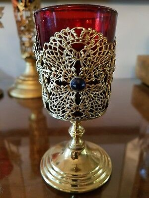 3 Vintage Religious Votive Holders with Ruby Glass Inserts