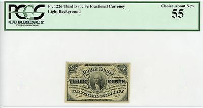 3rd Issue Fr.1226 (Light Background) 3c Fractional Currency Note - PCGS Ch.AU 55