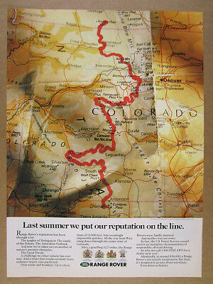 1990 Range Rover Great Divide Challenge colorado map vintage print Ad