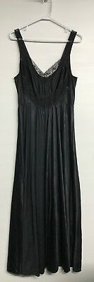 "Plus Size 1X Vintage Full Sweep 184 "" Nightgown, Undercover Wear, Black, Lace"