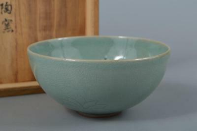 M4095: Korean Goryeo celadon Flower inlay TEA BOWL Green tea tool w/signed box
