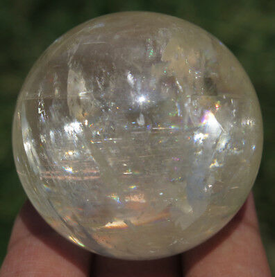 43mm 4OZ NATURAL Rainbows Honey Clean CALCITE Crystal Sphere Ball