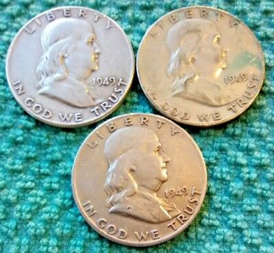 Lot of 3 90% Silver US Coins, 1949-P-S-D, Franklin Half Dollars, Circulated, #25