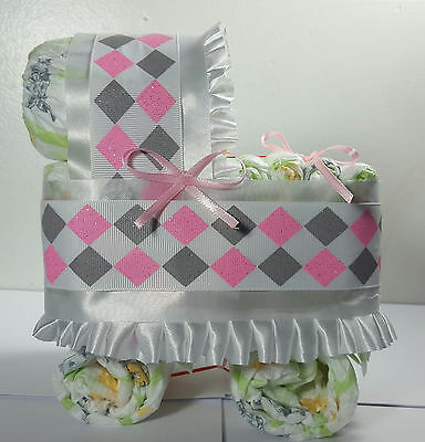 Diaper Cake Bassinet Carriage Baby Shower Gift - Pink Gray Diamonds with White