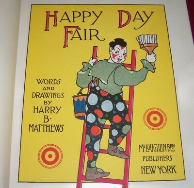 """1908 McLOUGHLIN """"HAPPY DAY FAIR"""", UNIQUE 38 COLOR CIRCUS / CARNIVAL GEMS, FIRST!"""