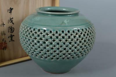 M4041: Korean Goryeo celadon Bird Cloud inlay BIG FLOWER VASE w/signed box