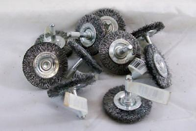 "NEW 12-piece Weiler 61250 Crimped Wire 2"" Wheel Brush mounted on 1/4"" stem"