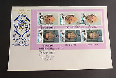 Turks & Caicos 1981 Royal Wedding Booklet Pane 20c $1 FDC First Day Cover