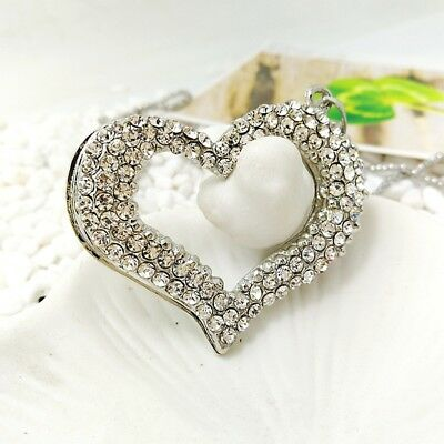 Fashion Silver crystal heart Pendants chain Sweater chain necklace EE384
