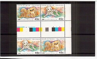 M2922sbs Australia Christmas Island 1994 Year of Dog Gutter Block MUH